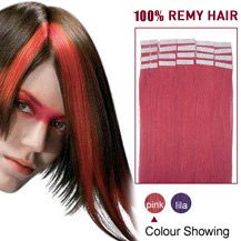 16 inches Pink 20pcs Tape In Human Hair Extensions