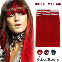 24 inches Red 20pcs Tape In Human Hair Extensions