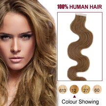 24 inches Golden Brown (#12) 20pcs Wavy Tape In Human Hair Extensions