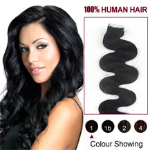 "20"" Jet Black (#1) 20pcs Wavy Tape In Human Hair Extensions"