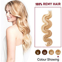 16 inches Blonde Highlight  (#27/613) 20pcs Wavy Tape In Human Hair Extensions