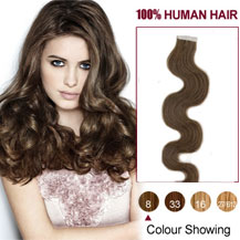 16 inches Ash Brown (#8) 20pcs Wavy Tape In Human Hair Extensions