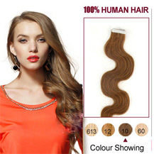 "18"" Light Brown (#10) 20pcs Wavy Tape In Human Hair Extensions"