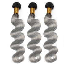 3 set bundle #1B/Grey Silver Ombre Wavy Indian Remy Gray Hair Wefts 14/16/18 Inches