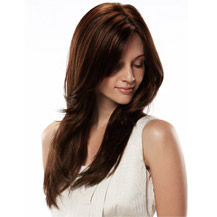 Human Hair Full Lace Wig Straight Dark Auburn