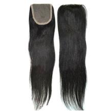 "18"" Natural Black Straight Virgin Brazilian Remy Hair Lace Closure"