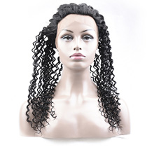 20 inches 360 Natural Black Curly Full lace Human closure wig