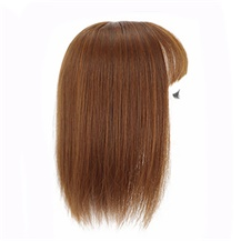 "8"" Light Brown Three Clips on Hairpiece with 3D fringe Hair Topper For Woman"