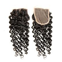 "10"" Lace Frontal Closure #1B Natural Black Human Hair Extensions Deep Wave"