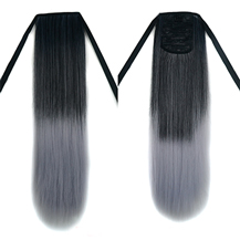 Bundled Fluffy Long Straight Ponytail Omber Black Grey 1 Piece