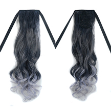 Bundled Fluffy Long Wavy Ponytail Omber Black Grey 1 Piece