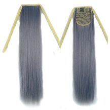 Bundled Fluffy Long Straight Ponytail Grey 1 Piece