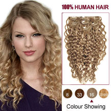 28 inches Golden Blonde (#16) 7pcs Curly Clip In Indian Remy Hair Extensions