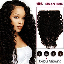28 inches Natural Black (#1B) 7pcs Curly Clip In Indian Remy Hair Extensions