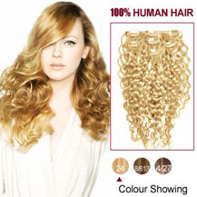 28 inches Ash Blonde (#24) 7pcs Curly Clip In Indian Remy Hair Extensions