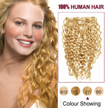 28 inches Strawberry Blonde (#27) 7pcs Curly Clip In Indian Remy Hair Extensions