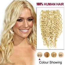 28 inches Bleach Blonde (#613) 7pcs Curly Clip In Indian Remy Hair Extensions