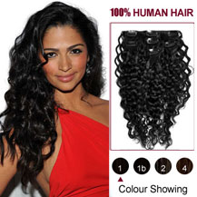 20 inches Jet Black (#1) 7pcs Curly Clip In Indian Remy Hair Extensions