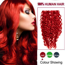 16 inches Red 7pcs Curly Full Head Set Clip In Indian Remy Hair Extensions