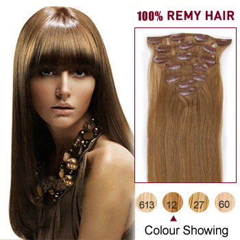 18 inches Golden Brown (#12) 9PCS Straight Clip In Indian Remy Hair Extensions