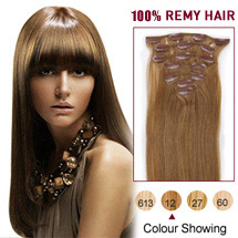 22 inches Golden Brown (#12) 7pcs Clip In Indian Remy Hair Extensions