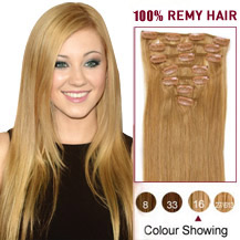 24 inches Golden Blonde (#16) 7pcs Clip In Indian Remy Hair Extensions