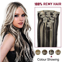 28 inches #1B/613 7pcs Clip In Indian Remy Hair Extensions
