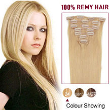 "16"" Ash Blonde (#24) 9PCS Straight Clip In Indian Remy Hair Extensions"
