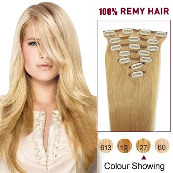 22 inches Strawberry Blonde (#27) 10PCS Straight Clip In Brazilian Remy Hair Extensions