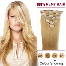 16 inches Strawberry Blonde (#27) 7pcs Clip In Brazilian Remy Hair Extensions