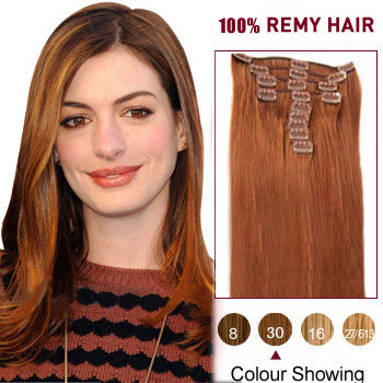 16 inches Light Auburn (#30) 7pcs Clip In Brazilian Remy Hair Extensions
