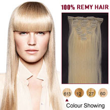 "26"" Bleach Blonde (#613) 7pcs Clip In Indian Remy Hair Extensions"