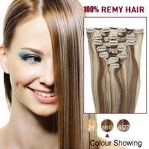 28 inches Brown/Blonde (#8/613) 7pcs Clip In Indian Remy Hair Extensions