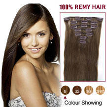 22 inches Ash Brown (#8) 7pcs Clip In Indian Remy Hair Extensions