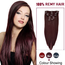 "30"" 99J 10PCS Straight Clip In Indian Remy Hair Extensions"