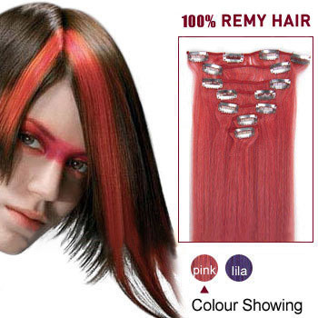20 inches Pink 7pcs Clip In Indian Remy Hair Extensions