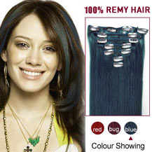 16 inches Blue 7pcs Clip In Indian Remy Hair Extensions