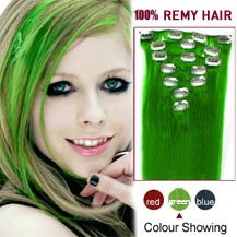 28 inches Green 7pcs Clip In Indian Remy Hair Extensions
