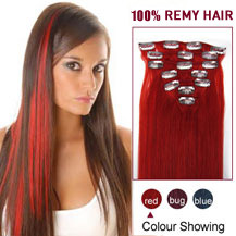 28 inches Red 7pcs Clip In Indian Remy Hair Extensions