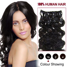18 inches Natural Black (#1b) 7pcs Wavy Clip In Indian Remy Hair Extensions