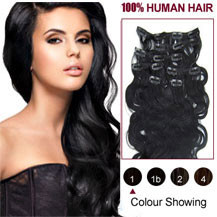 16 inches Jet Black (#1) 7pcs Wavy Clip In Indian Remy Hair Extensions