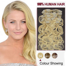 16 inches Ash Blonde (#24) 7pcs Wavy Clip In Brazilian Remy Hair Extensions