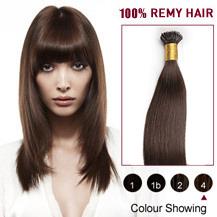 "18"" #4 Medium Brown 100s Flex Tip Nano Ring Human Hair Extensions"