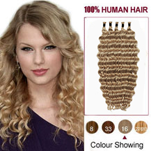 20 inches Golden Blonde (#16) 50S Curly Stick Tip Human Hair Extensions