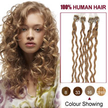 18 inches Golden Blonde (#16) 100S Curly Micro Loop Human Hair Extensions
