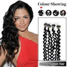 20 inches Jet Black (#1) 100S Curly Micro Loop Human Hair Extensions