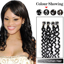 24 inches Natural Black (#1b) 100S Curly Micro Loop Human Hair Extensions