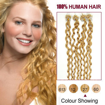 16 inches Strawberry Blonde (#27) 100S Curly Micro Loop Human Hair Extensions
