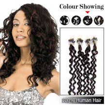 "26"" Dark Brown (#2) 100S Curly Micro Loop Human Hair Extensions"
