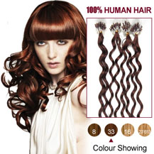 16 inches Dark Auburn (#33) 100S Curly Micro Loop Human Hair Extensions